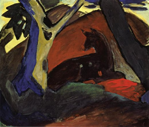 franz marc crouching deer painting