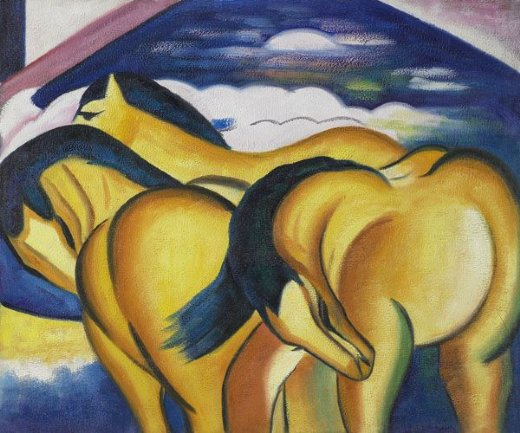 franz marc little yellow horses painting