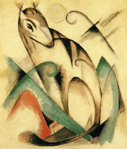 franz marc seated mythical animal painting