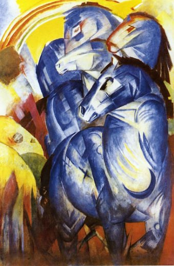 franz marc the tower of blue horses painting