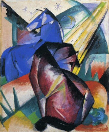 franz marc two horses red and blue paintings