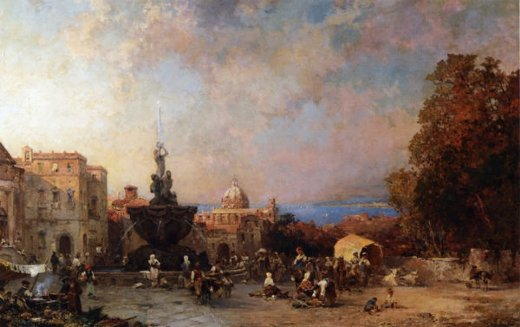 franz richard unterberger a market in naples paintings