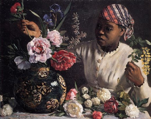 frederic bazille african woman with peonies paintings