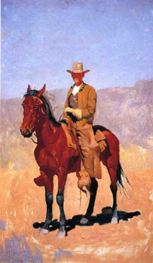 frederic remington mounted cowboy in chaps with race horse painting