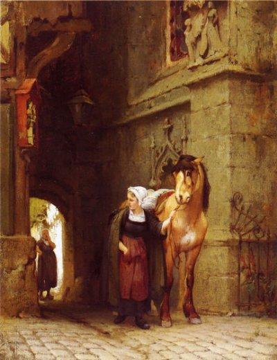 frederick arthur bridgeman leading the horse from stable painting