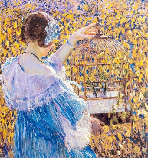 frederick carl frieseke the birdcage oil painting