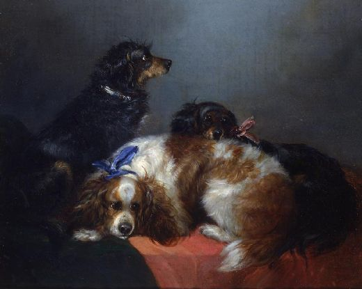 george armfield two king charles spaniels and a terrier painting