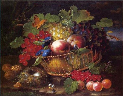 george forster still life with fruit butterflies and bird s nest painting