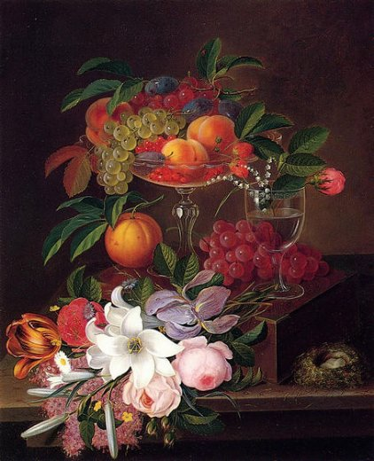 george forster still life with fruit flowers and bird s nest painting