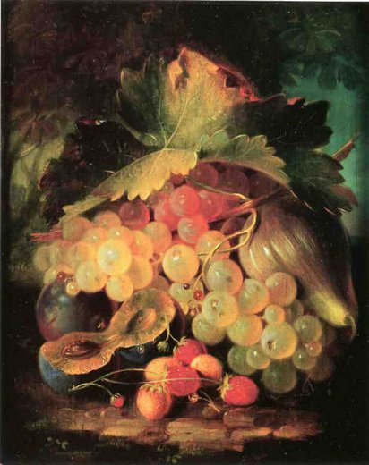 george forster still life with strawberries painting