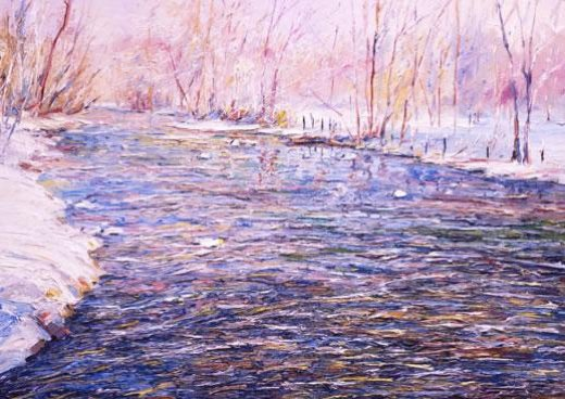 george gallo winter stream breaking up painting