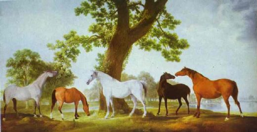 george stubbs mares by an oak tree paintings