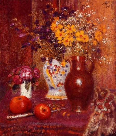 georges lemmen flowers and apples painting
