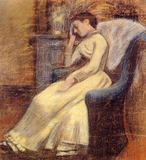 georges lemmen julie lemmen sleeping in an armchair painting