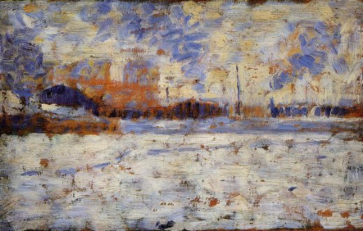 georges seurat snow effect winter in the suburbs paintings