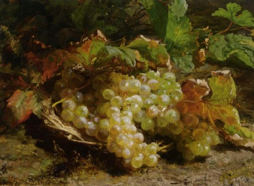geraldine jacoba van de sande bakhuyzen a still life with grapes in a basket paintings