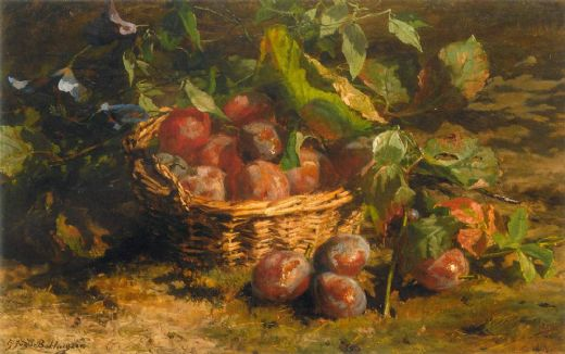 geraldine jacoba van de sande bakhuyzen still life with plums in a basket painting