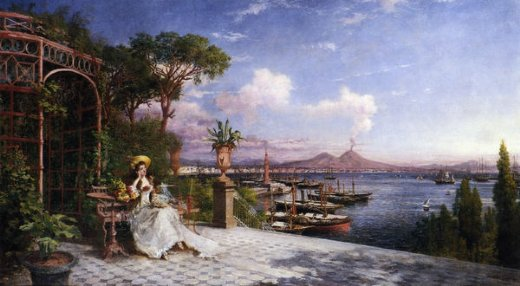 giuseppe castiglione lost in reverie by the bay of naples painting