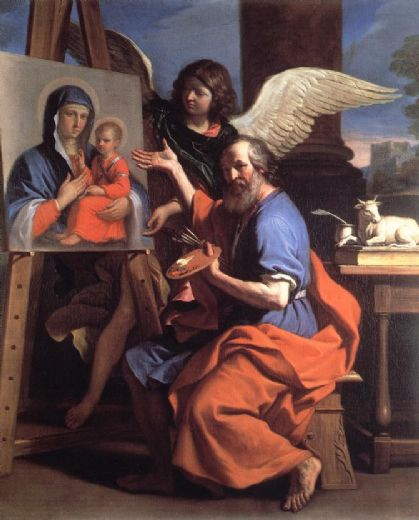 guercino st luke displaying a of the virgin paintings