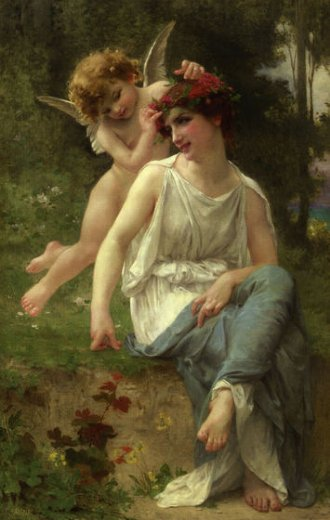 guillaume seignac cupid adoring a young maiden paintings