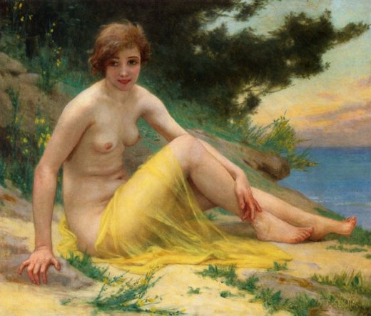 guillaume seignac nude at the beach painting