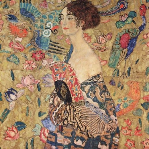 gustav klimt lady with fan paintings