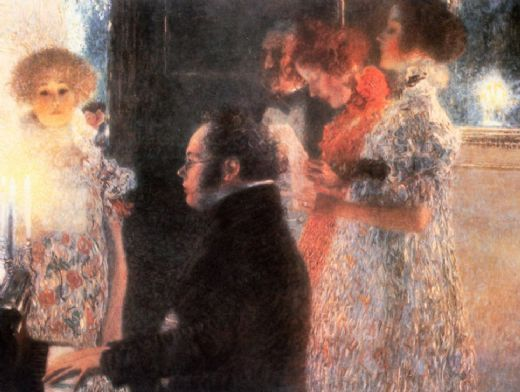 gustav klimt schubert at the piano paintings