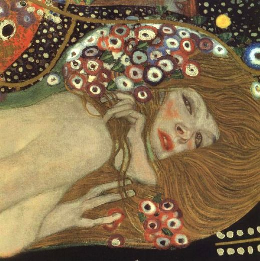 gustav klimt sea serpents iii (detail) paintings