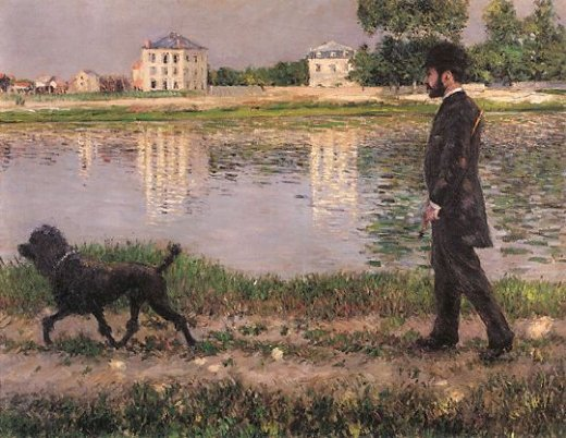 gustave caillebotte richard gallo and his dog at petit gennevilliers paintings