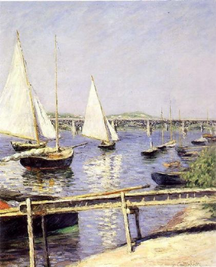 gustave caillebotte sailboats in argenteuil paintings