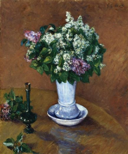 gustave caillebotte still life with a vase of lilacs painting