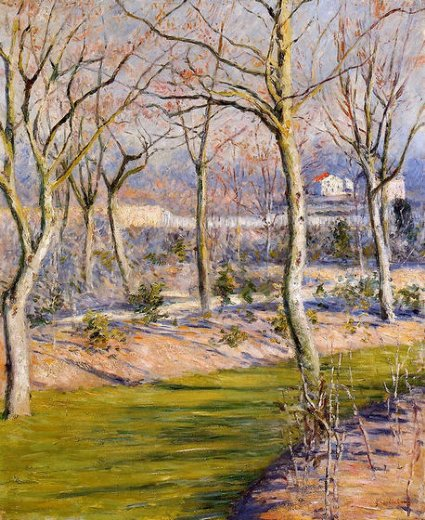 gustave caillebotte the garden at petit gennevilliers in winter painting