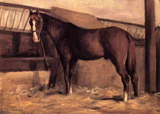 gustave caillebotte yerres reddish bay horse in the stable prints