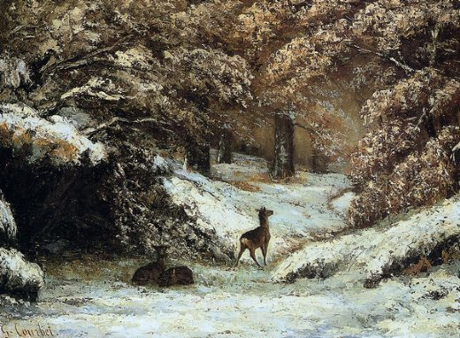gustave courbet deer taking shelter in winter painting