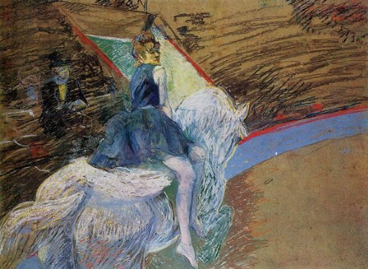 henri de toulouse lautrec at the cirque fernando rider on a white horse painting