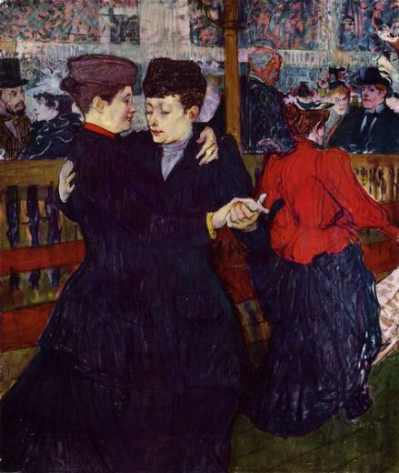 henri de toulouse lautrec at the moulin rouge the two waltzers painting