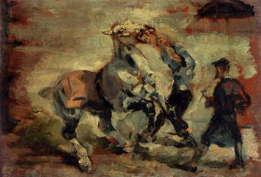 henri de toulouse lautrec horse fighting his groom painting