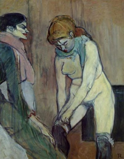 henri de toulouse lautrec woman pulling up her stockings paintings