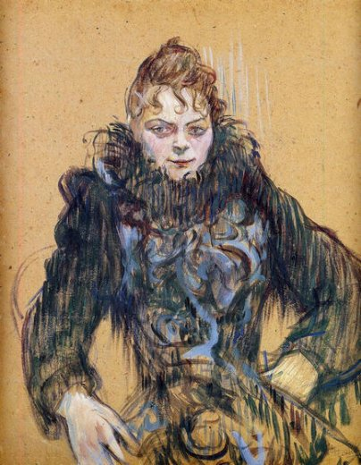 henri de toulouse lautrec woman with a black boa painting