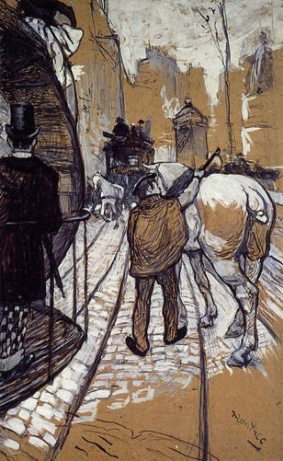 henri de toulouse lautrec workers for the bus company painting