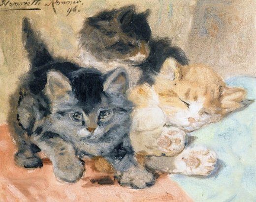 henriette ronner knip three kittens painting