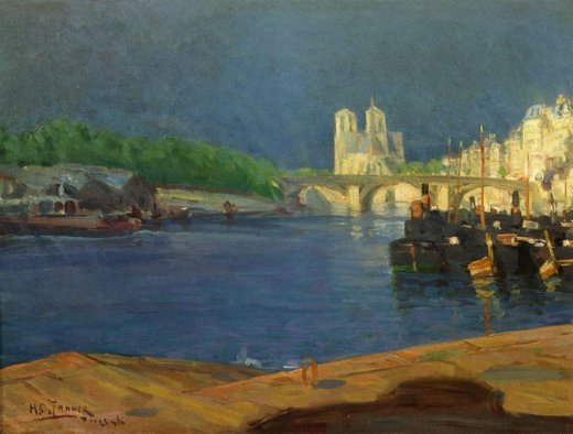 henry ossawa tanner view of the seine looking toward notre dame painting