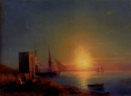 ivan constantinovich aivazovsky figures in a coastal landscape at sunset painting