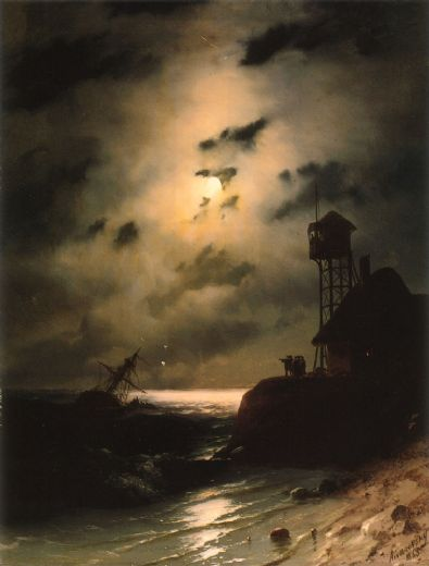 ivan constantinovich aivazovsky moonlit seascape with shipwreck paintings