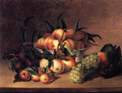 james peale grapes apples and bowl of peaches painting