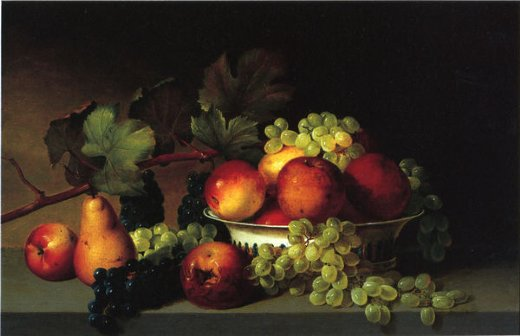 james peale still life apples grapes pear painting