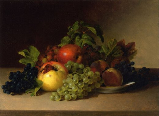 james peale still life with apples and grapes painting