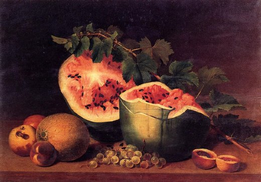 james peale still life with broken watermelon painting