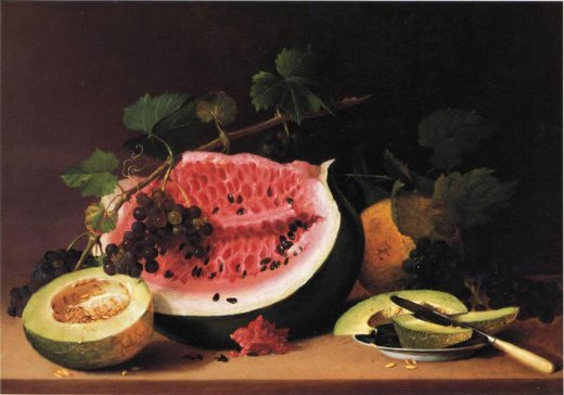 james peale still life with watermelon ii painting