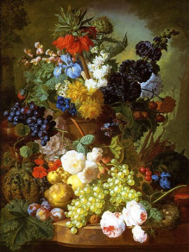 jan van os still life of flowers fruit and bird s nest on a marble ledge painting